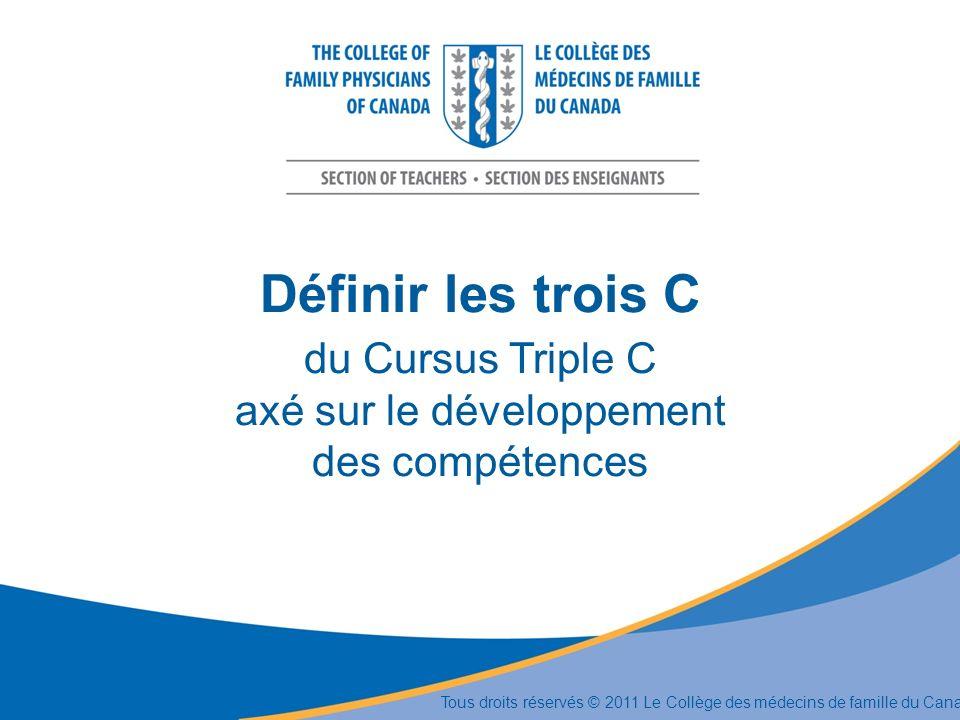 Définir les trois C du Cursus Triple C axé sur le développement des compétences Tous droits réservés © 2011 Le Collège des médecins de famille du Cana