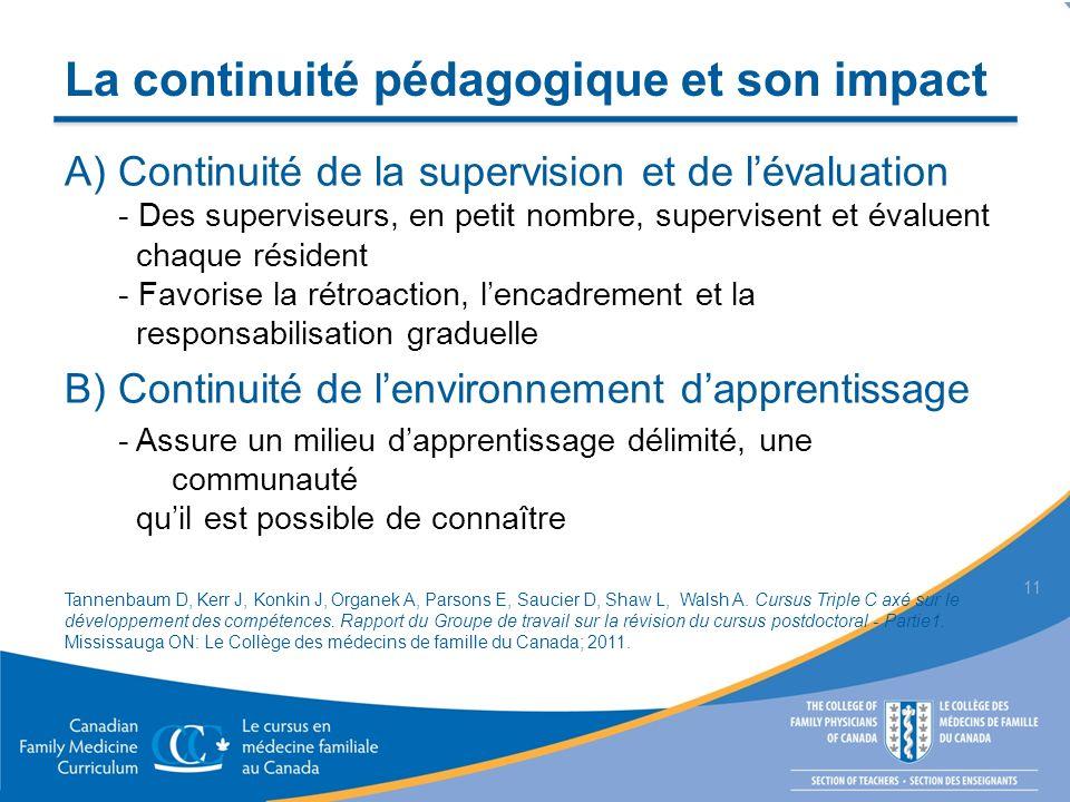La continuité pédagogique et son impact A) Continuité de la supervision et de lévaluation - Des superviseurs, en petit nombre, supervisent et évaluent