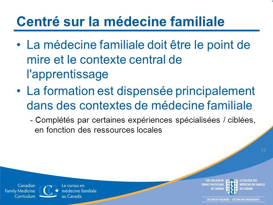 Centré sur la médecine familiale La médecine familiale doit être le point de mire et le contexte central de l apprentissage La formation est dispensée principalement dans des contextes de médecine familiale - Complétés par certaines expériences spécialisées / ciblées, en fonction des ressources locales 13
