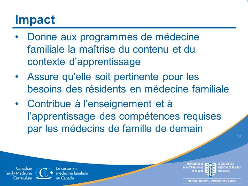 Impact Donne aux programmes de médecine familiale la maîtrise du contenu et du contexte dapprentissage Assure quelle soit pertinente pour les besoins des résidents en médecine familiale Contribue à lenseignement et à lapprentissage des compétences requises par les médecins de famille de demain 14