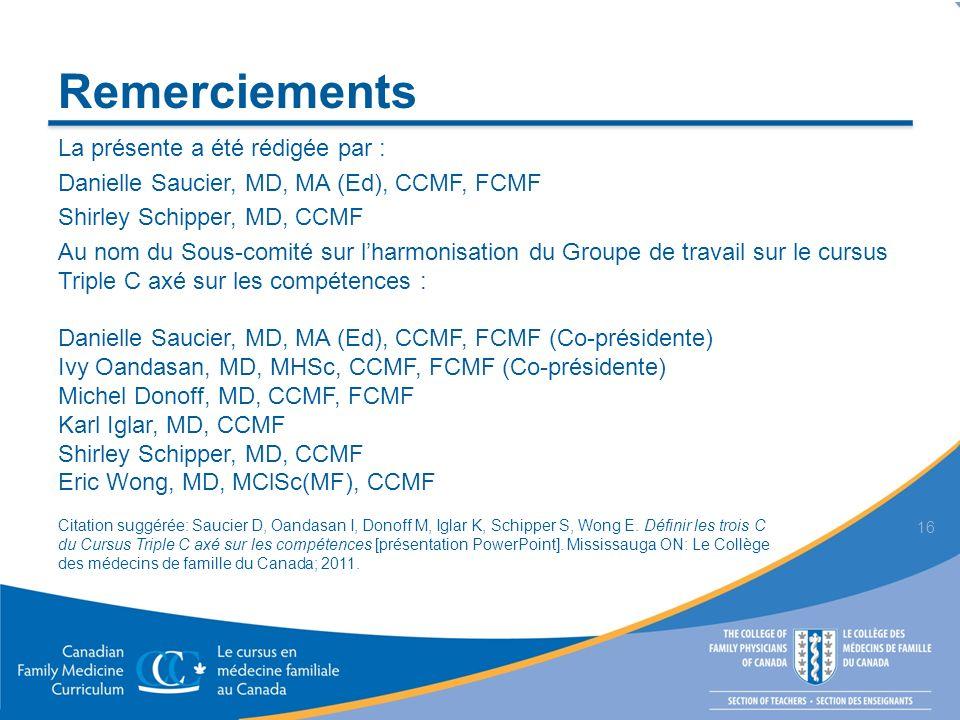 Remerciements La présente a été rédigée par : Danielle Saucier, MD, MA (Ed), CCMF, FCMF Shirley Schipper, MD, CCMF Au nom du Sous-comité sur lharmonis