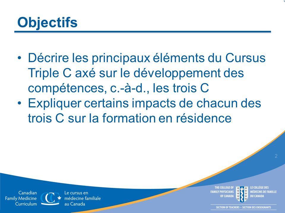 Objectifs Décrire les principaux éléments du Cursus Triple C axé sur le développement des compétences, c.-à-d., les trois C Expliquer certains impacts de chacun des trois C sur la formation en résidence 2