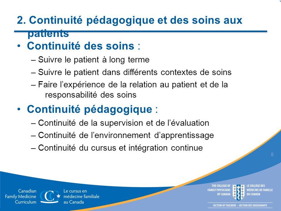 2. Continuité pédagogique et des soins aux patients Continuité des soins : – Suivre le patient à long terme – Suivre le patient dans différents contex