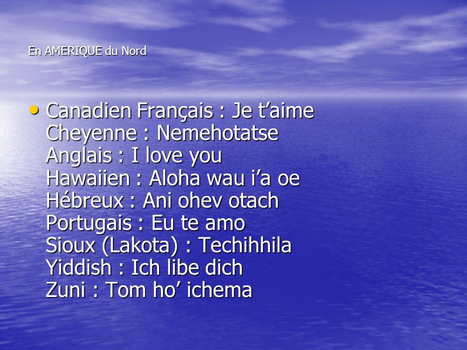 En AMERIQUE du Nord Canadien Français : Je taime Cheyenne : Nemehotatse Anglais : I love you Hawaiien : Aloha wau ia oe Hébreux : Ani ohev otach Portugais : Eu te amo Sioux (Lakota) : Techihhila Yiddish : Ich libe dich Zuni : Tom ho ichema Canadien Français : Je taime Cheyenne : Nemehotatse Anglais : I love you Hawaiien : Aloha wau ia oe Hébreux : Ani ohev otach Portugais : Eu te amo Sioux (Lakota) : Techihhila Yiddish : Ich libe dich Zuni : Tom ho ichema