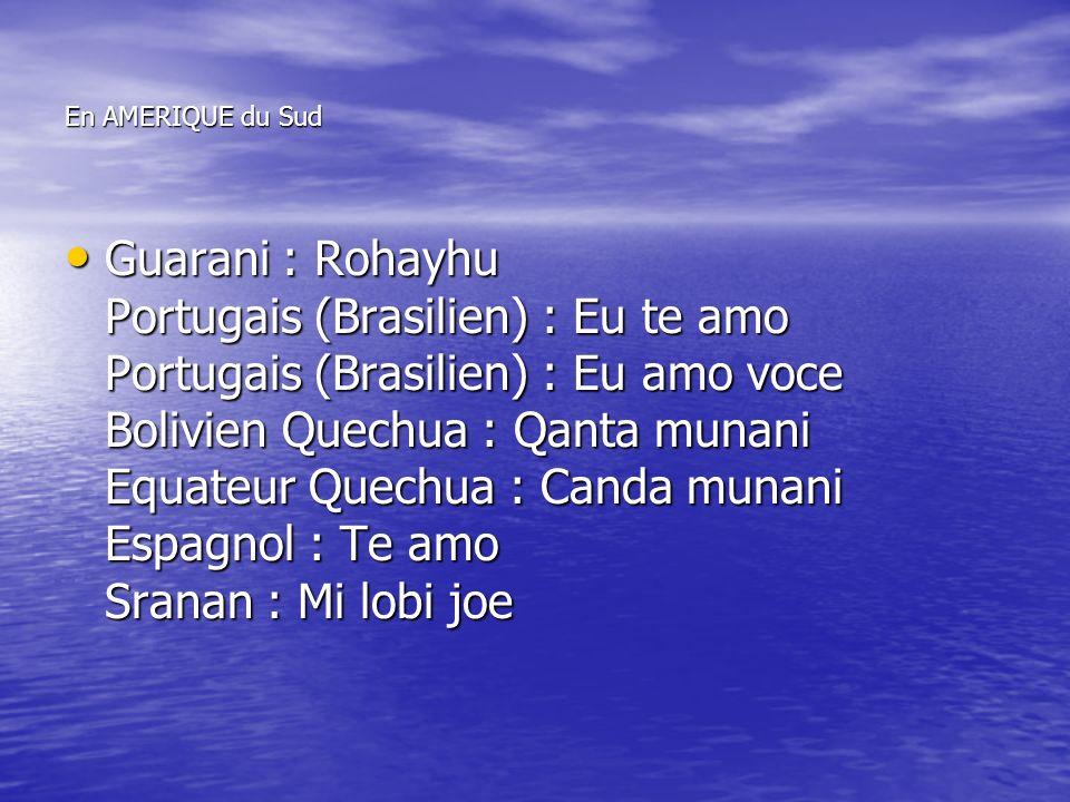 En AMERIQUE du Sud Guarani : Rohayhu Portugais (Brasilien) : Eu te amo Portugais (Brasilien) : Eu amo voce Bolivien Quechua : Qanta munani Equateur Quechua : Canda munani Espagnol : Te amo Sranan : Mi lobi joe Guarani : Rohayhu Portugais (Brasilien) : Eu te amo Portugais (Brasilien) : Eu amo voce Bolivien Quechua : Qanta munani Equateur Quechua : Canda munani Espagnol : Te amo Sranan : Mi lobi joe