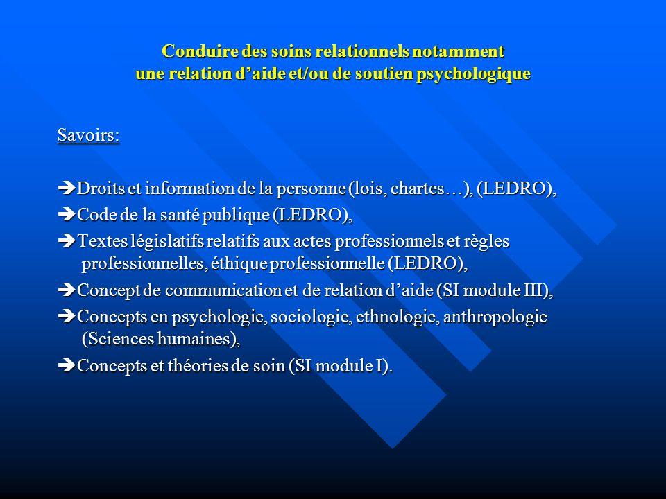 Conduire des soins relationnels notamment une relation daide et/ou de soutien psychologique Savoirs: Droits et information de la personne (lois, chart