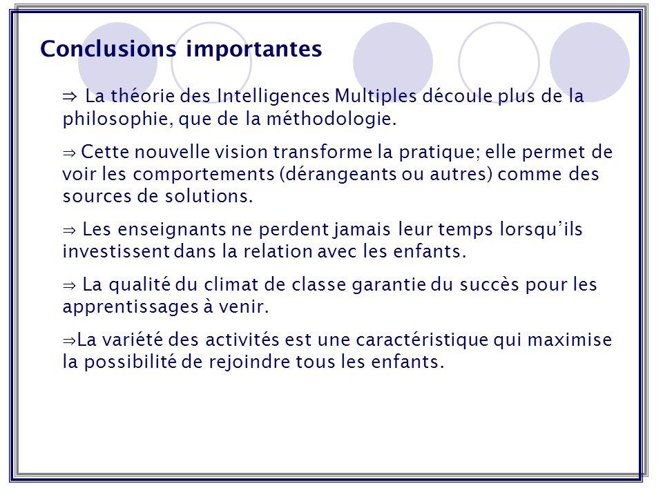 Conclusions importantes La théorie des Intelligences Multiples découle plus de la philosophie, que de la méthodologie. Cette nouvelle vision transform