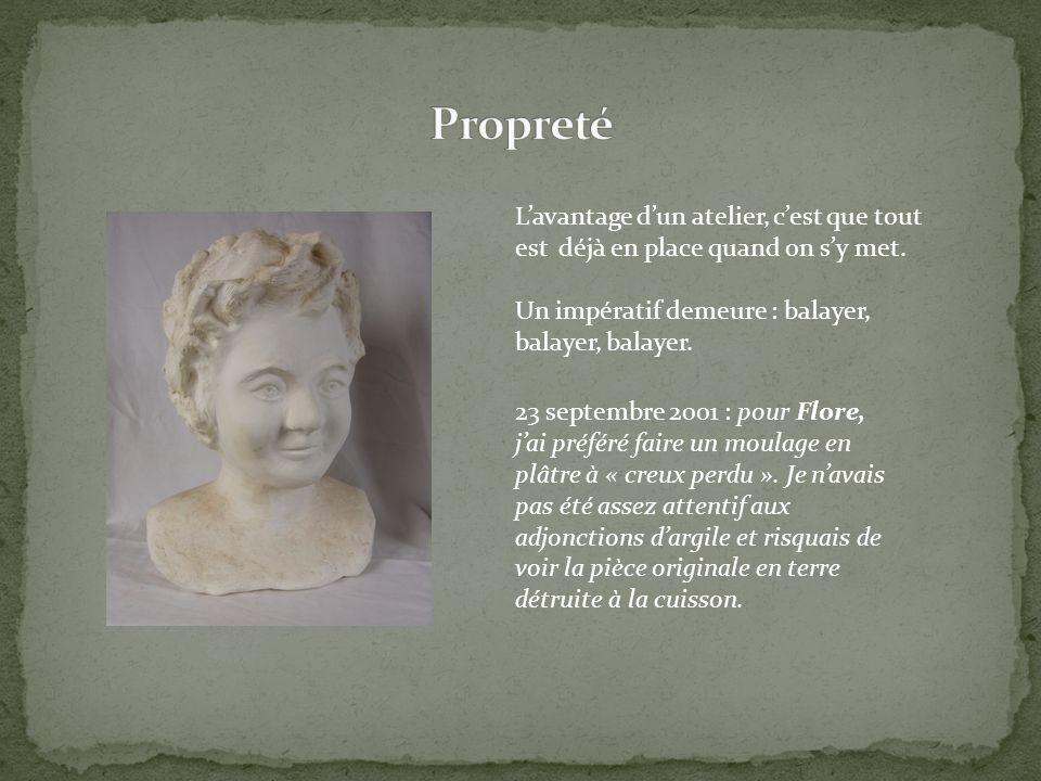 23 septembre 2001 : pour Flore, jai préféré faire un moulage en plâtre à « creux perdu ». Je navais pas été assez attentif aux adjonctions dargile et