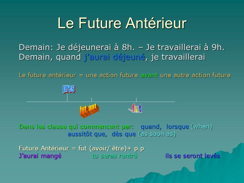 Le Future Antérieur Demain: Je déjeunerai à 8h. – Je travaillerai à 9h. Demain, quand jaurai déjeuné, je travaillerai Le future antérieur = une action