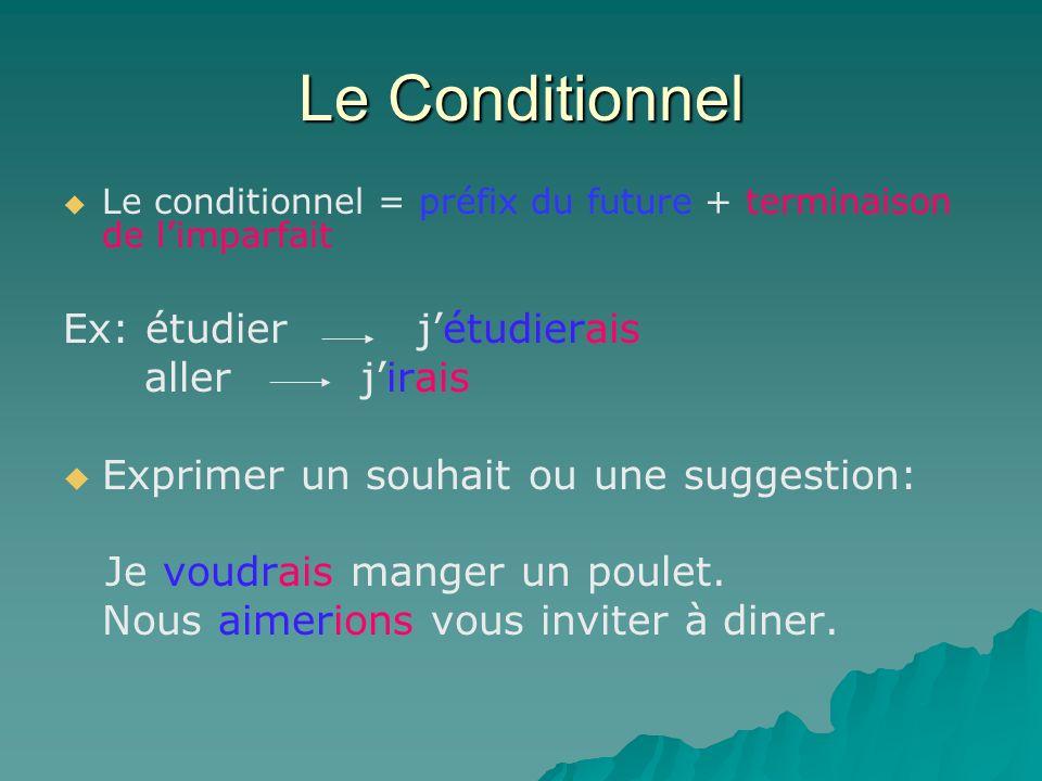 Le Conditionnel Le conditionnel = préfix du future + terminaison de limparfait Ex: étudier jétudierais aller jirais Exprimer un souhait ou une suggest
