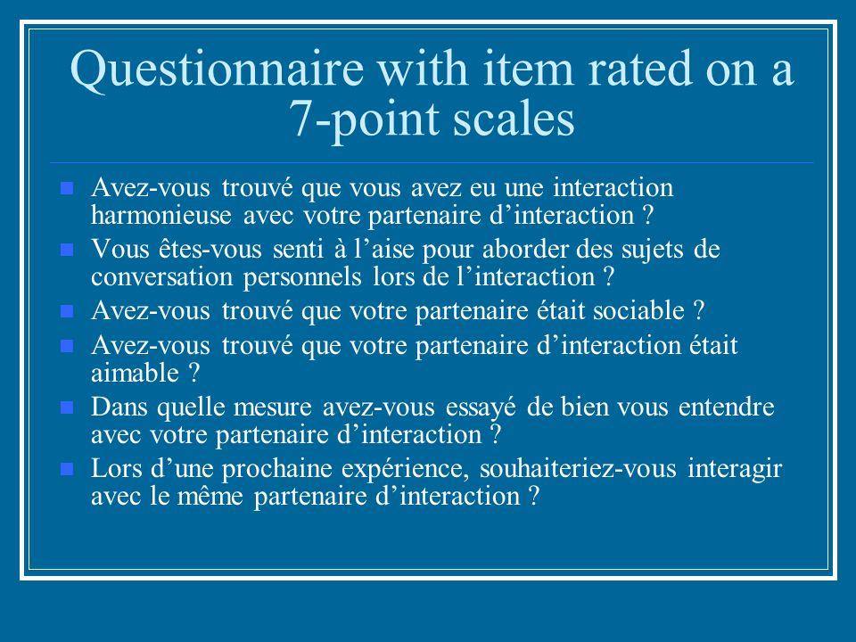 Questionnaire with item rated on a 7-point scales Avez-vous trouvé que vous avez eu une interaction harmonieuse avec votre partenaire dinteraction .