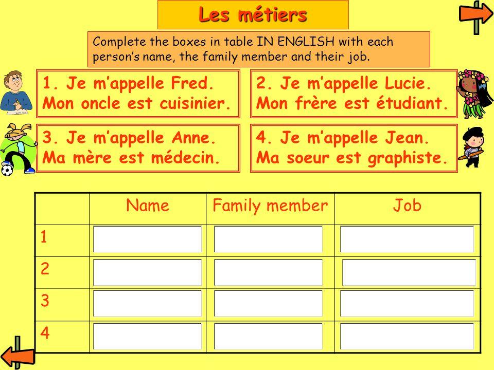1. Je mappelle Fred. Mon oncle est cuisinier. NameFamily memberJob 1 2 3 4 Les métiers 2.
