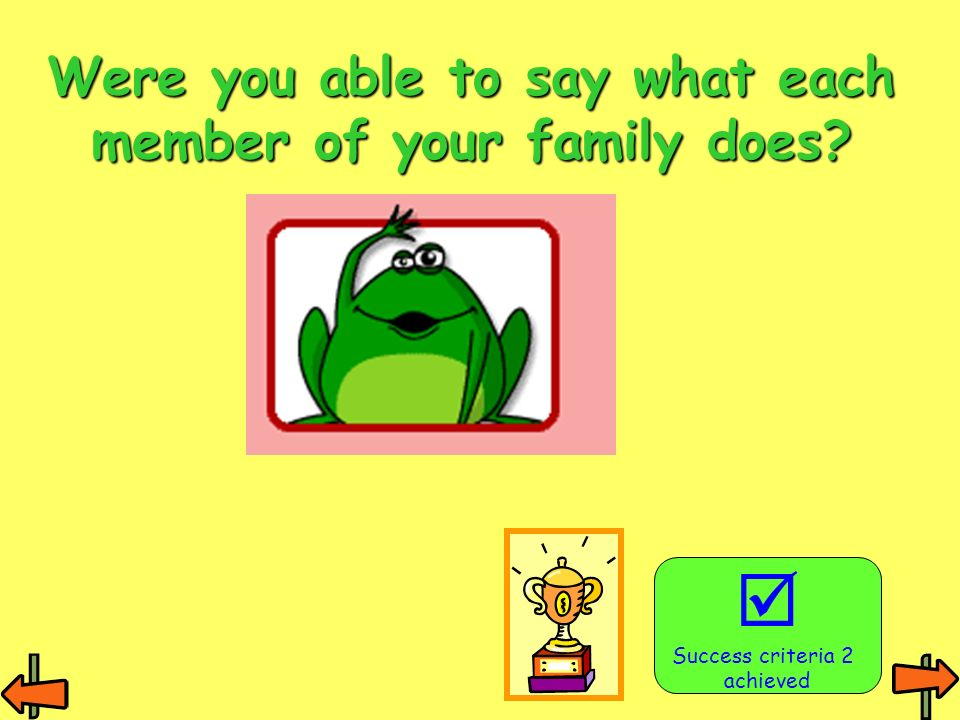 Were you able to say what each member of your family does? Success criteria 2 achieved