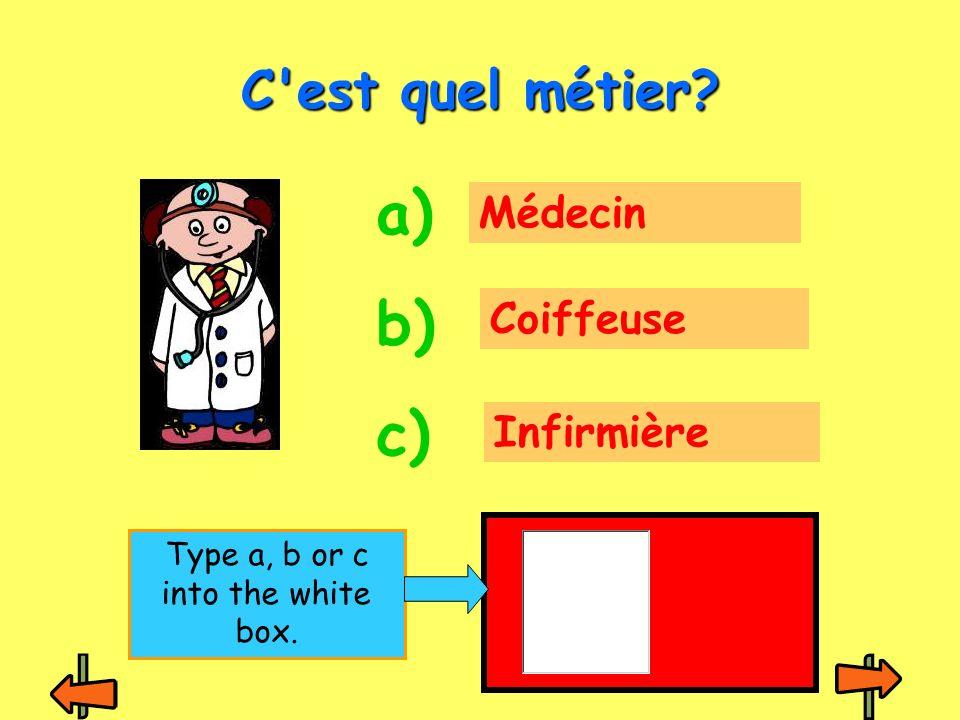 Médecin Coiffeuse Infirmière C est quel métier? a) b) c) Type a, b or c into the white box.