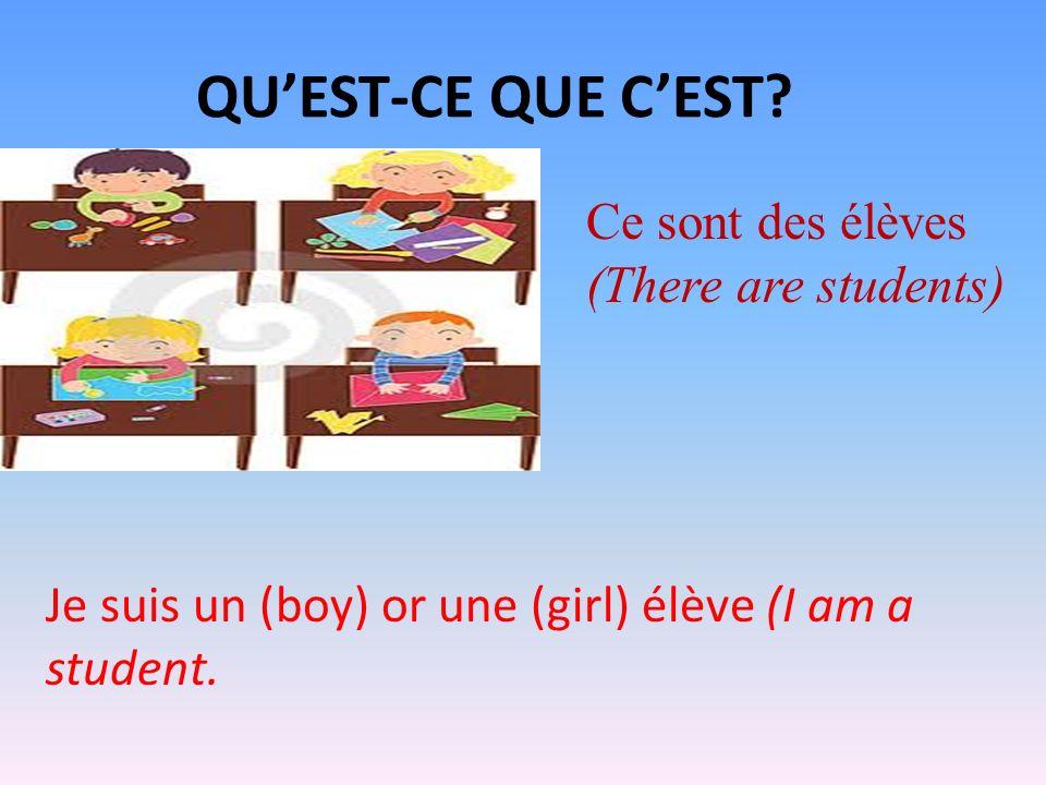 QUEST-CE QUE CEST? Ce sont des élèves (There are students) Je suis un (boy) or une (girl) élève (I am a student.