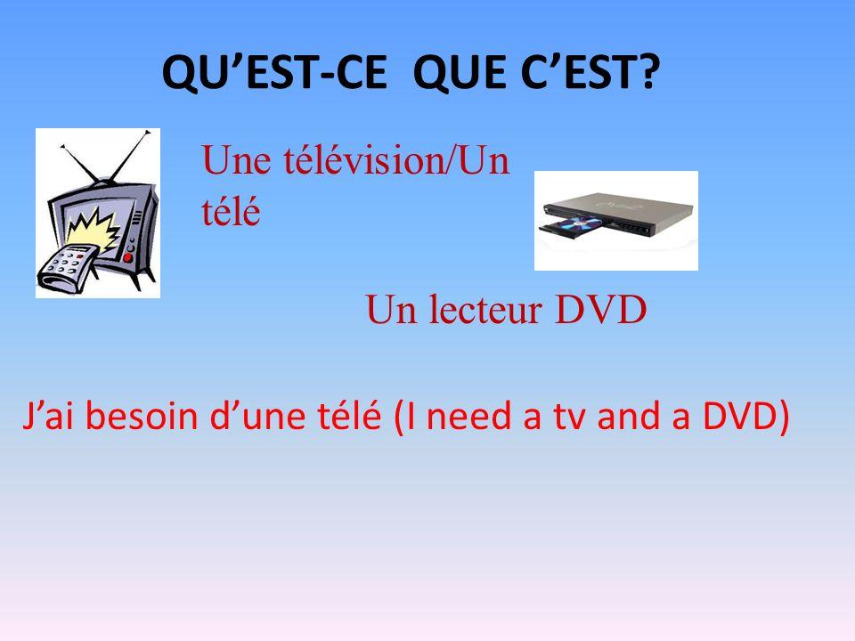 QUEST-CE QUE CEST? Une télévision/Un télé Un lecteur DVD Jai besoin dune télé (I need a tv and a DVD)