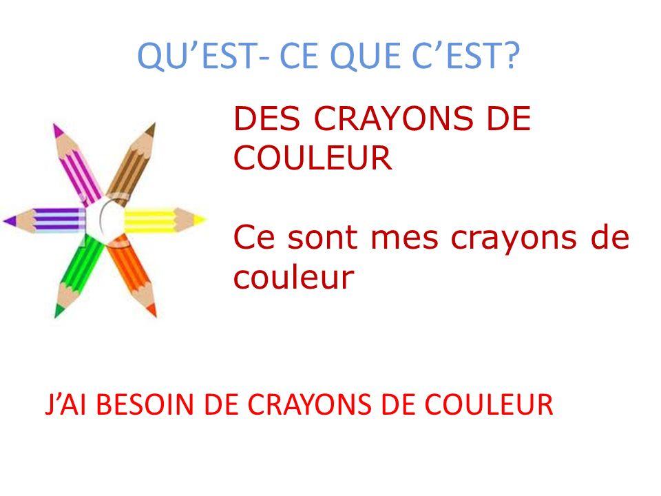 QUEST- CE QUE CEST? DES CRAYONS DE COULEUR Ce sont mes crayons de couleur JAI BESOIN DE CRAYONS DE COULEUR