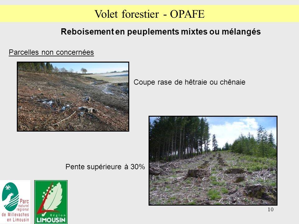 10 Coupe rase de hêtraie ou chênaie Reboisement en peuplements mixtes ou mélangés Parcelles non concernées Pente supérieure à 30% Volet forestier - OPAFE