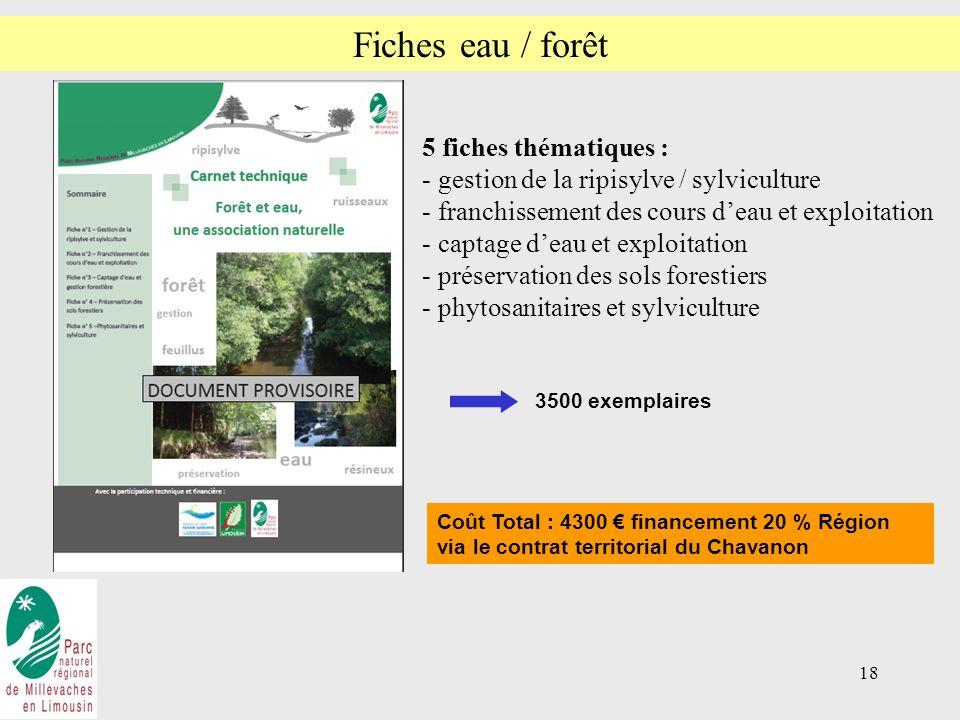 18 Fiches eau / forêt 5 fiches thématiques : - gestion de la ripisylve / sylviculture - franchissement des cours deau et exploitation - captage deau et exploitation - préservation des sols forestiers - phytosanitaires et sylviculture Coût Total : 4300 financement 20 % Région via le contrat territorial du Chavanon 3500 exemplaires