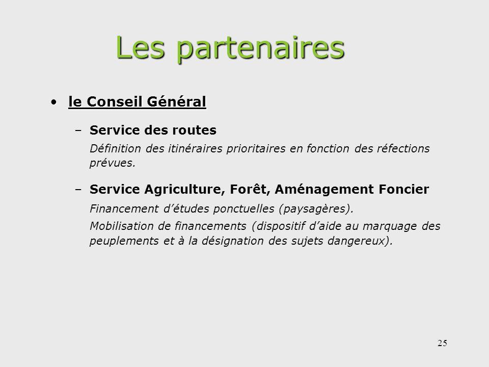 25 Les partenaires le Conseil Généralle Conseil Général –Service des routes Définition des itinéraires prioritaires en fonction des réfections prévues.