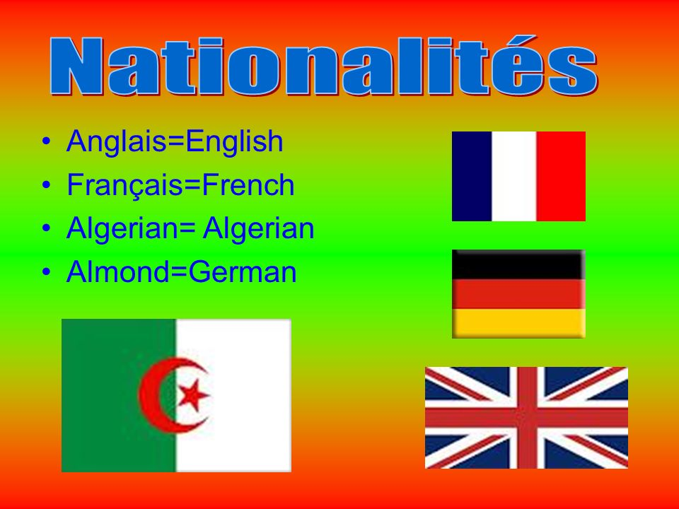 Anglais=English Français=French Algerian= Algerian Almond=German