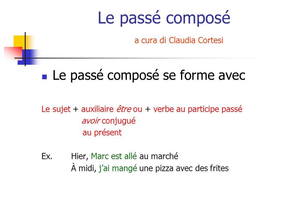 Le passé composé a cura di Claudia Cortesi Le passé composé se forme avec Le sujet + auxiliaire être ou + verbe au participe passé avoir conjugué au p