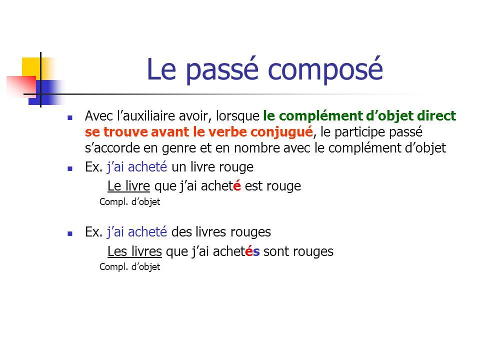 Le passé composé Avec lauxiliaire avoir, lorsque le complément dobjet direct se trouve avant le verbe conjugué, le participe passé saccorde en genre et en nombre avec le complément dobjet Ex.