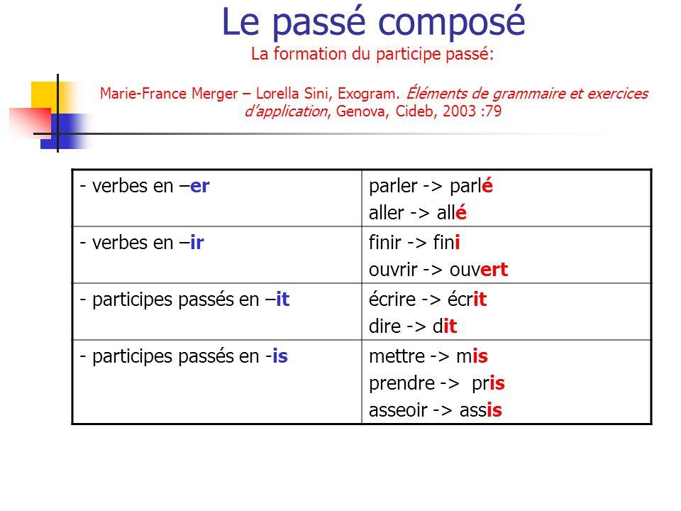 Le passé composé La formation du participe passé: Marie-France Merger – Lorella Sini, Exogram. Éléments de grammaire et exercices dapplication, Genova