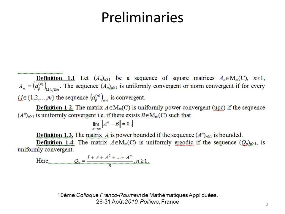 Preliminaries 10ème Colloque Franco-Roumain de Mathématiques Appliquées.