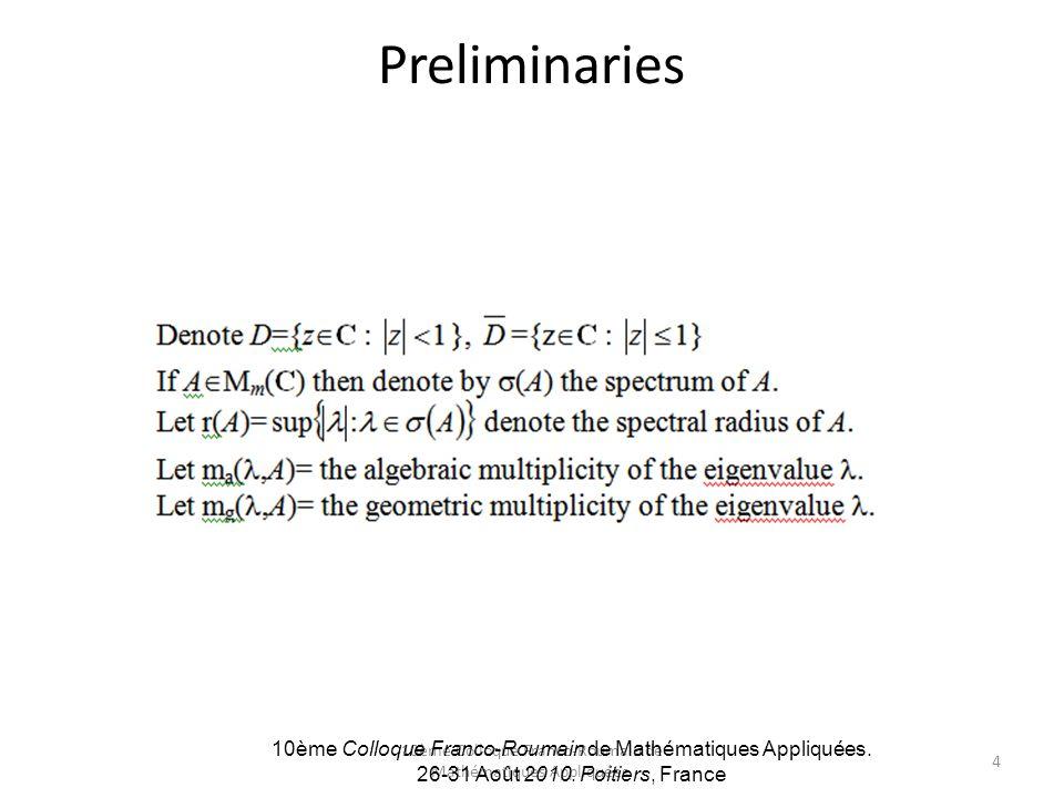 10ème Colloque Franco-Roumain de Mathématiques Appliquées. Preliminaries 10ème Colloque Franco-Roumain de Mathématiques Appliquées. 26-31 Août 2010. P