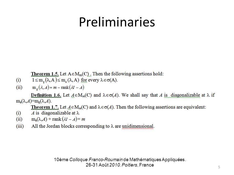 Preliminaries 10ème Colloque Franco-Roumain de Mathématiques Appliquées. 26-31 Août 2010. Poitiers, France 5