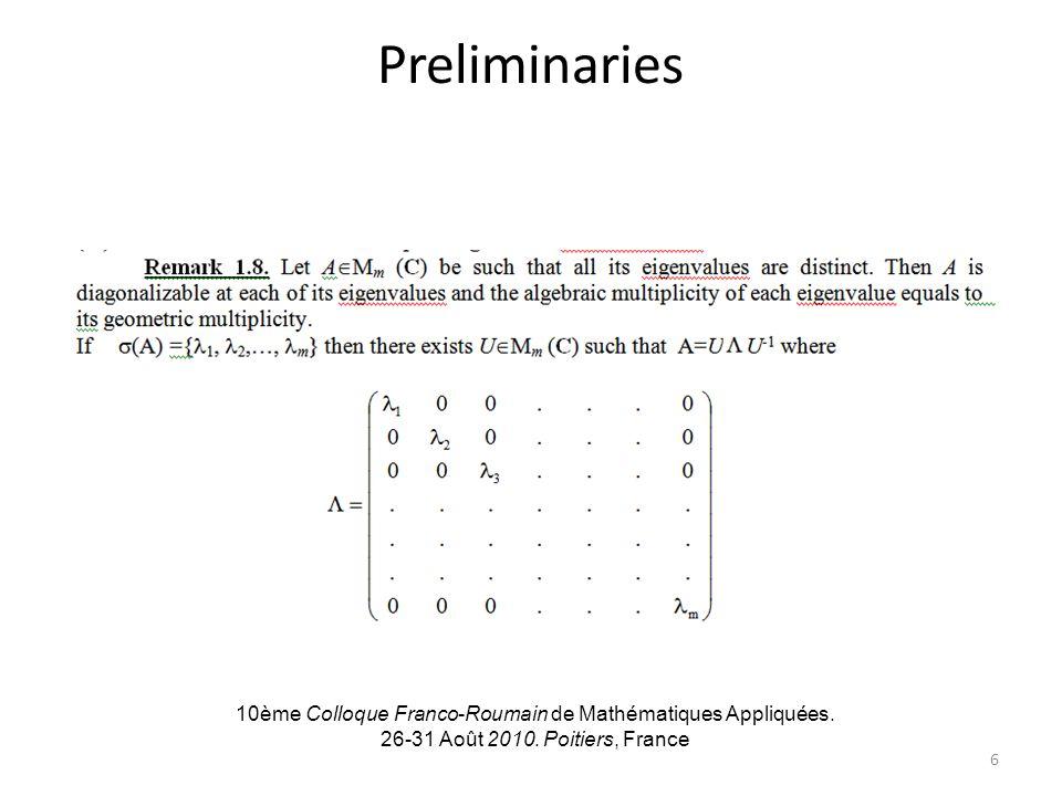 Preliminaries 10ème Colloque Franco-Roumain de Mathématiques Appliquées. 26-31 Août 2010. Poitiers, France 6