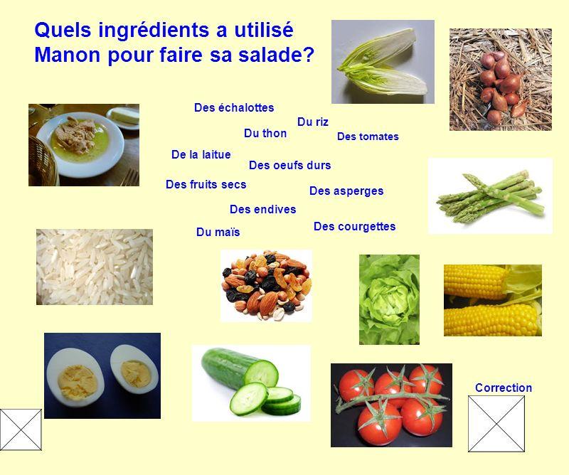 Quels ingrédients a utilisé Manon pour faire sa salade? Du thon Des échalottes Des oeufs durs Des tomates Des courgettes De la laitue Du riz Du maïs D
