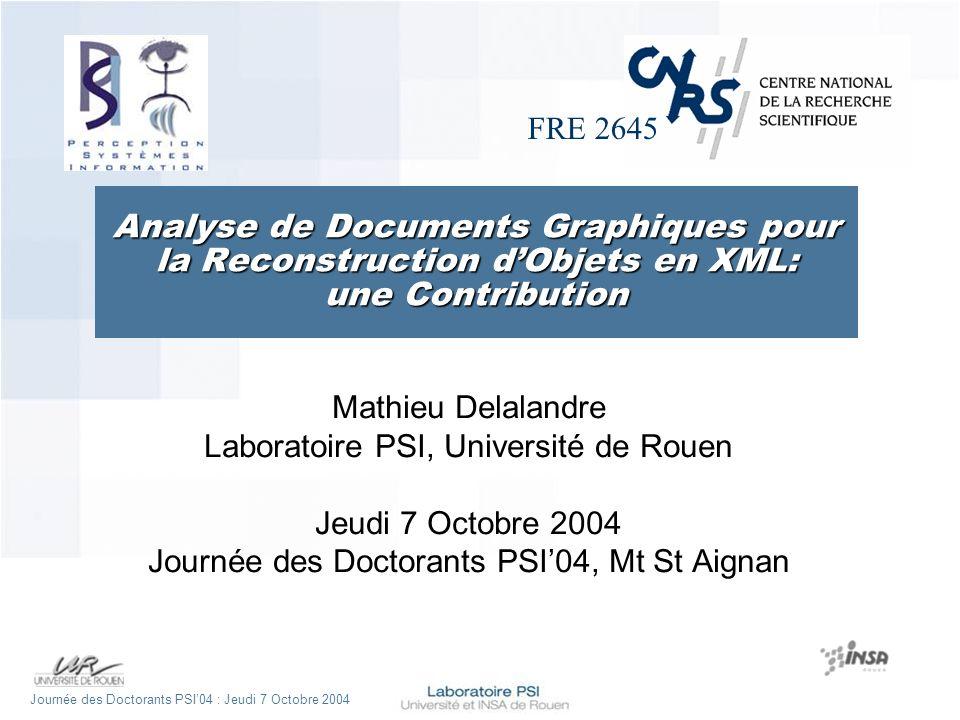 Journée des Doctorants PSI04 : Jeudi 7 Octobre 2004 un Cas dUsage Extraction de primitives graphiques