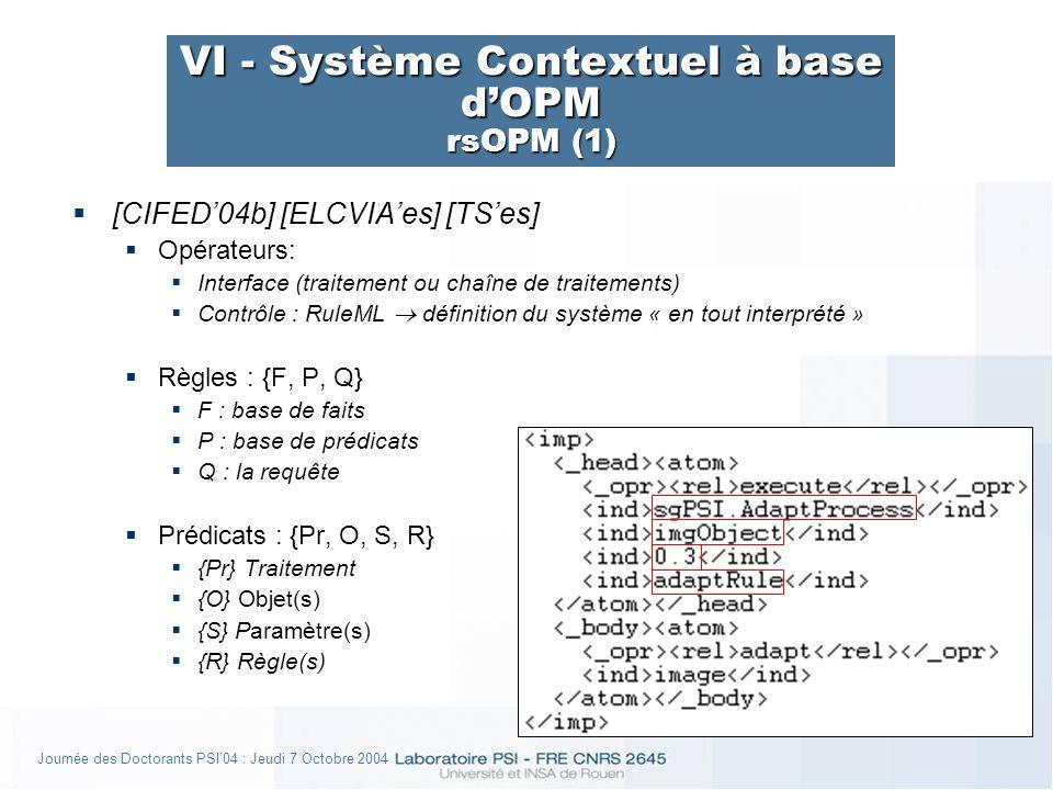 Journée des Doctorants PSI04 : Jeudi 7 Octobre 2004 VI - Système Contextuel à base dOPM rsOPM (1) [CIFED04b] [ELCVIAes] [TSes] Opérateurs: Interface (traitement ou chaîne de traitements) Contrôle : RuleML définition du système « en tout interprété » Règles : {F, P, Q} F : base de faits P : base de prédicats Q : la requête Prédicats : {Pr, O, S, R} {Pr} Traitement {O} Objet(s) {S} Paramètre(s) {R} Règle(s)