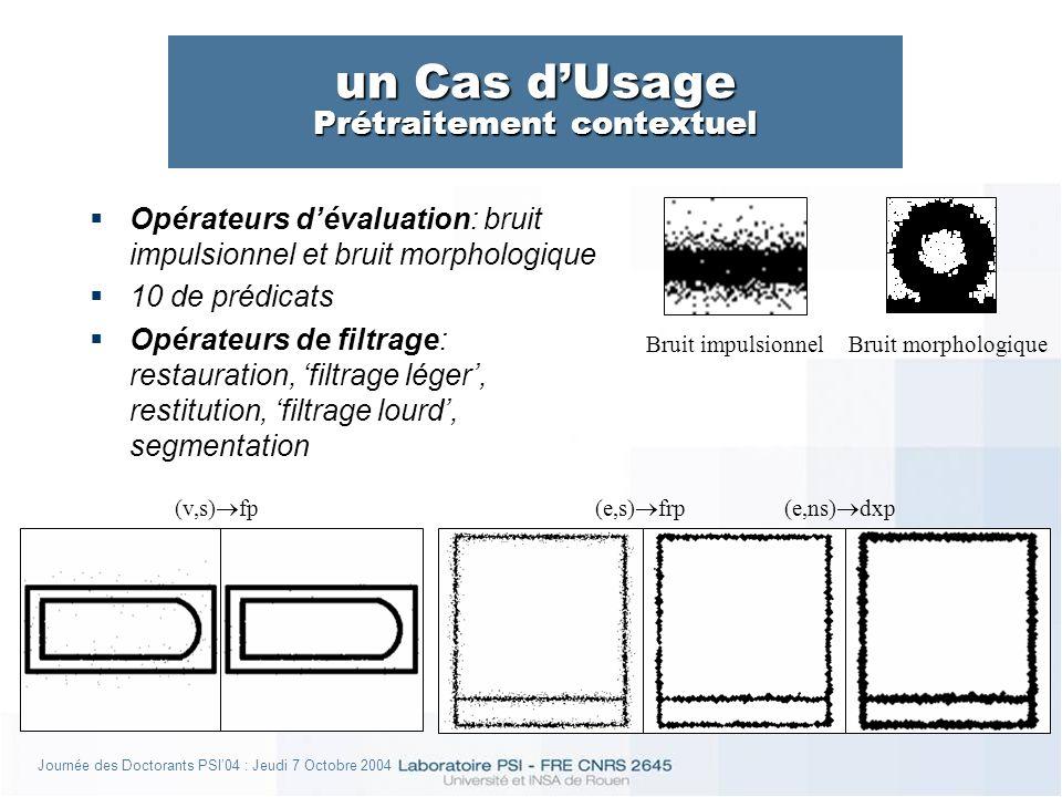 Journée des Doctorants PSI04 : Jeudi 7 Octobre 2004 un Cas dUsage Prétraitement contextuel Opérateurs dévaluation: bruit impulsionnel et bruit morphologique 10 de prédicats Opérateurs de filtrage: restauration, filtrage léger, restitution, filtrage lourd, segmentation Bruit impulsionnelBruit morphologique (v,s) fp(e,s) frp(e,ns) dxp