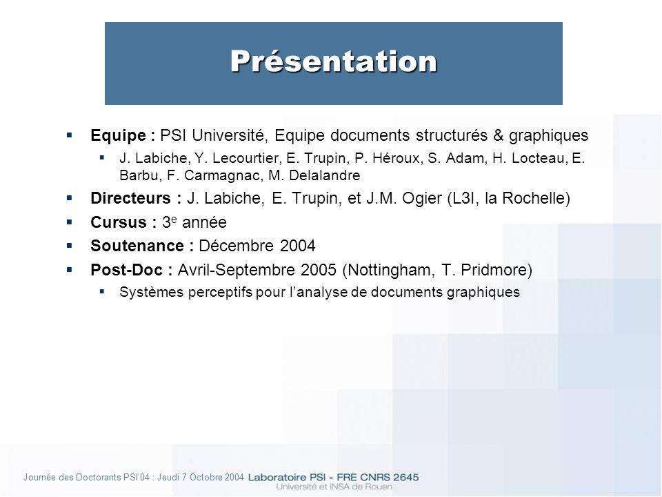 Journée des Doctorants PSI04 : Jeudi 7 Octobre 2004 Présentation Equipe : PSI Université, Equipe documents structurés & graphiques J.