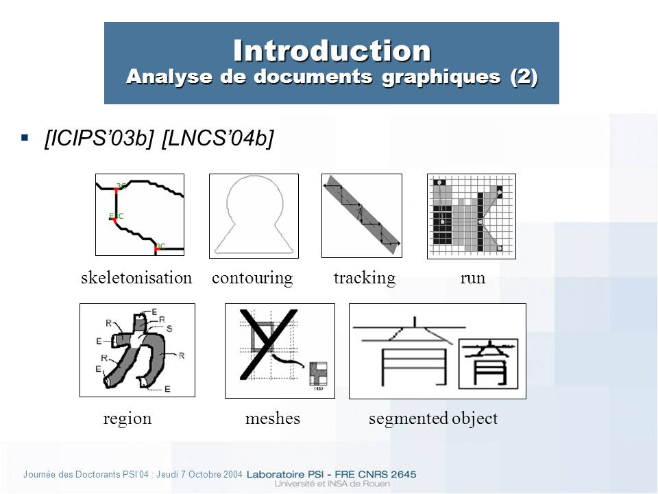 Journée des Doctorants PSI04 : Jeudi 7 Octobre 2004 Introduction Analyse de documents graphiques (2) [ICIPS03b] [LNCS04b] skeletonisationcontouring meshesregion runtracking segmented object