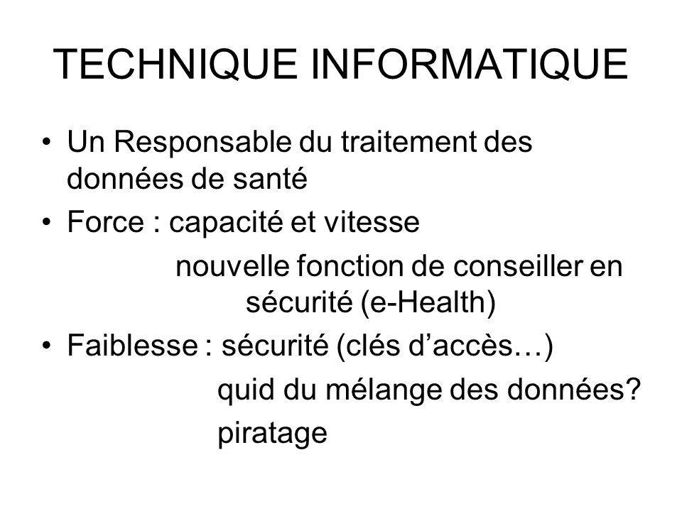 TECHNIQUE INFORMATIQUE Un Responsable du traitement des données de santé Force : capacité et vitesse nouvelle fonction de conseiller en sécurité (e-He