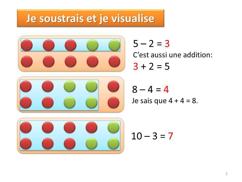 5 Je soustrais et je visualise 5 – 2 = 3 Cest aussi une addition: 3 + 2 = 5 8 – 4 = 4 Je sais que 4 + 4 = 8.