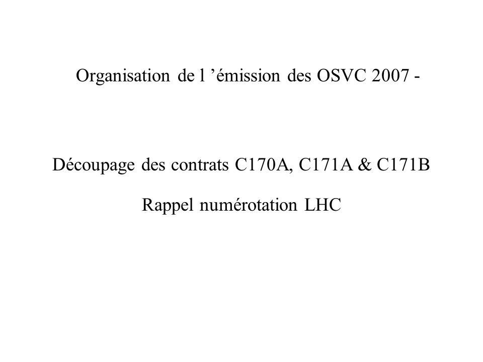 Organisation de l émission des OSVC 2007 - Découpage des contrats C170A, C171A & C171B Rappel numérotation LHC