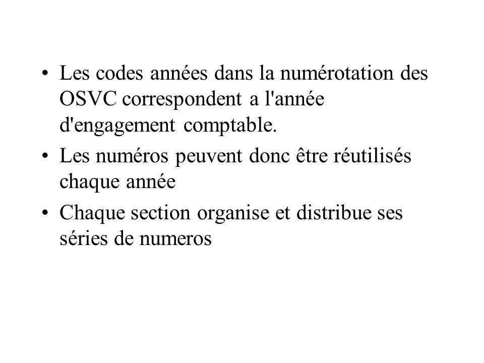 Les codes années dans la numérotation des OSVC correspondent a l année d engagement comptable.