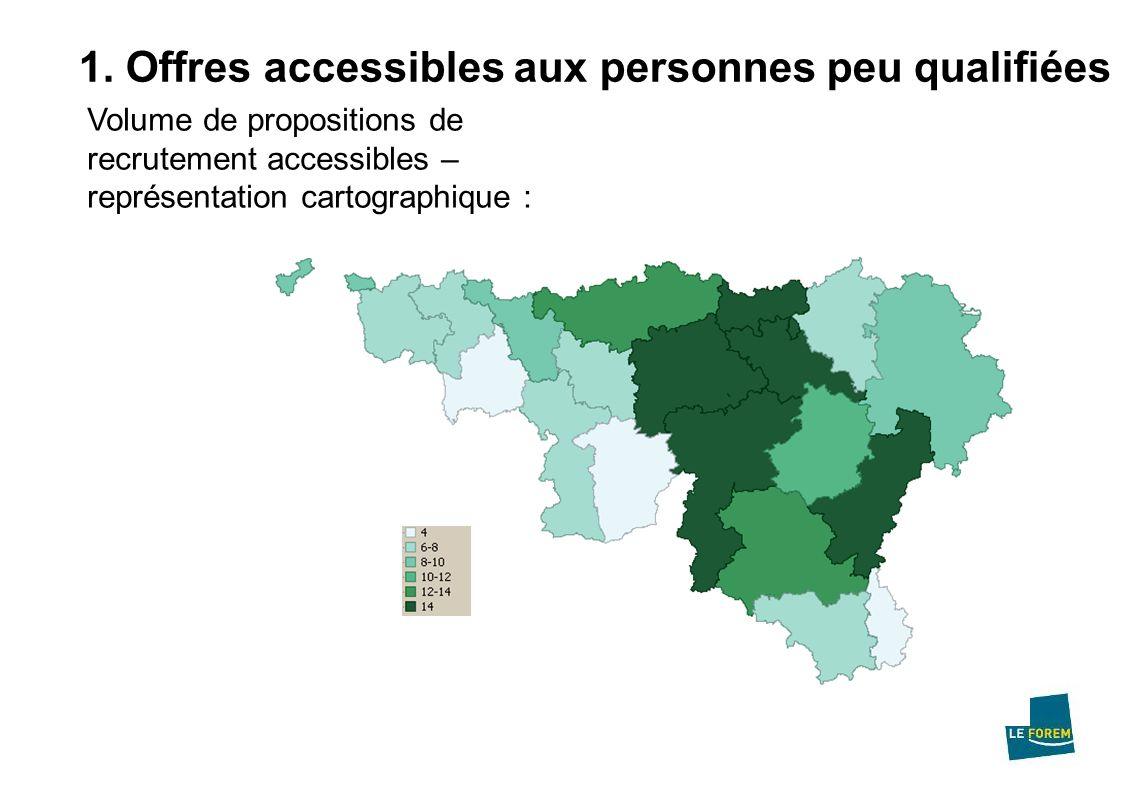 1. Offres accessibles aux personnes peu qualifiées Volume de propositions de recrutement accessibles – représentation cartographique :