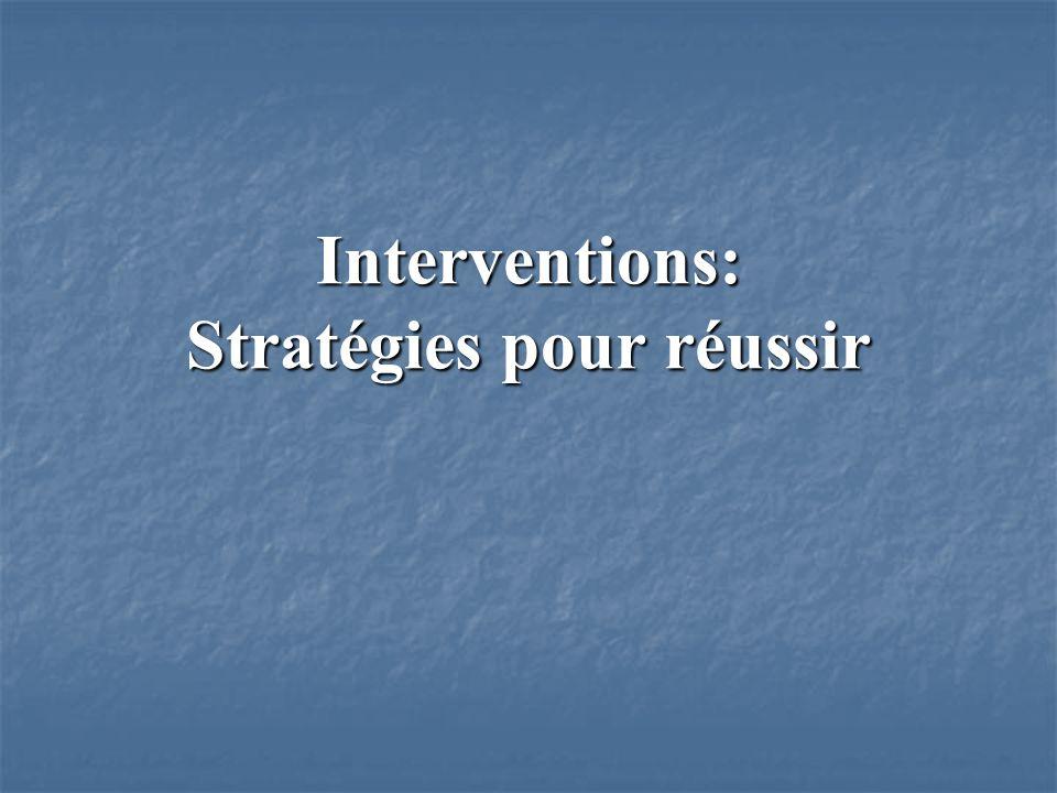 Interventions: Stratégies pour réussir