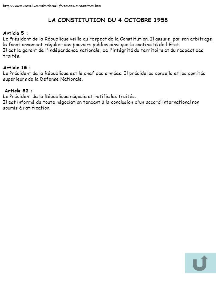 http://www.conseil-constitutionnel.fr/textes/c1958titres.htm LA CONSTITUTION DU 4 OCTOBRE 1958 Article 5 : Le Président de la République veille au res