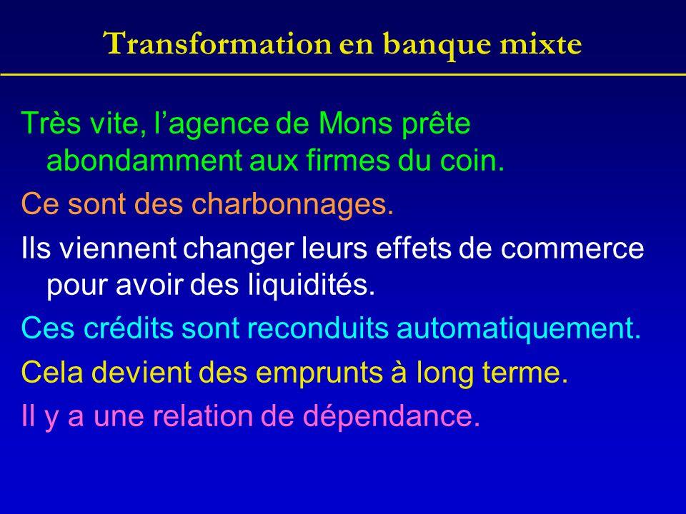 Transformation en banque mixte Très vite, lagence de Mons prête abondamment aux firmes du coin. Ce sont des charbonnages. Ils viennent changer leurs e