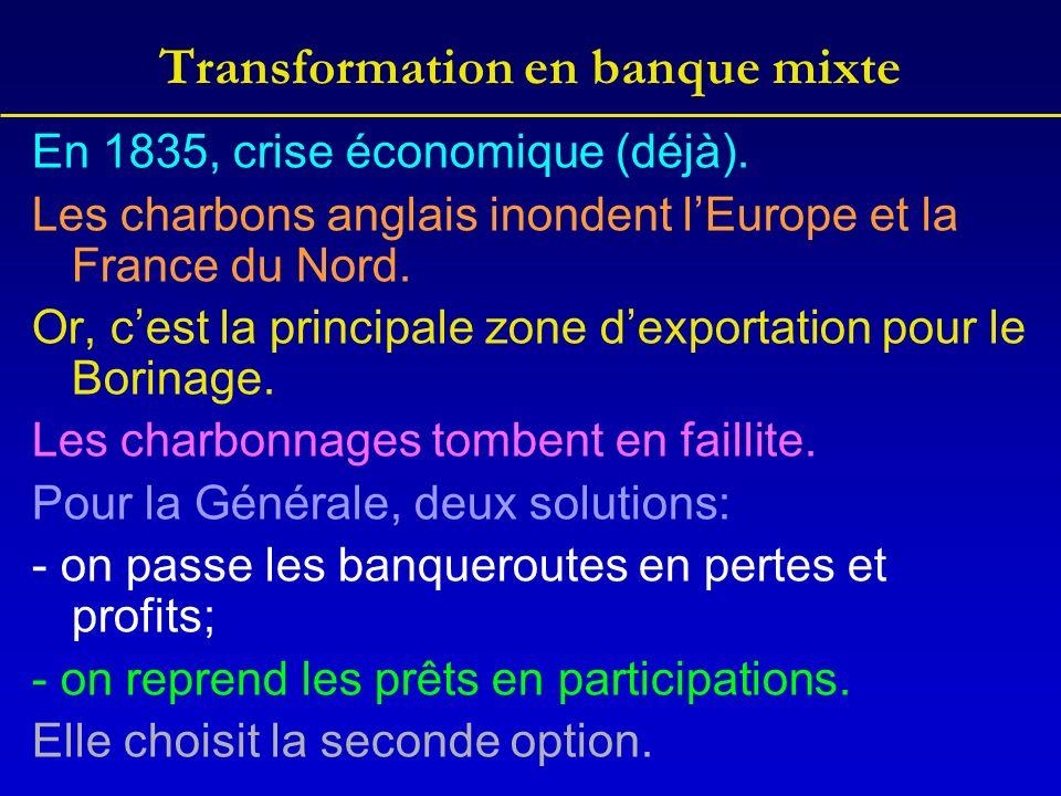 Transformation en banque mixte En 1835, crise économique (déjà). Les charbons anglais inondent lEurope et la France du Nord. Or, cest la principale zo