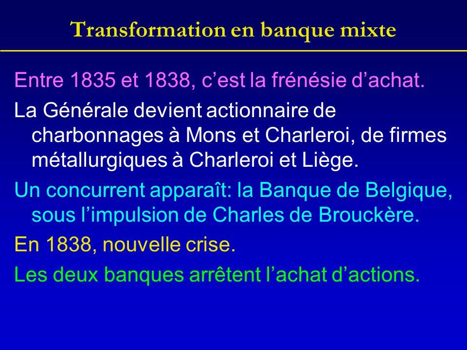 Transformation en banque mixte Entre 1835 et 1838, cest la frénésie dachat. La Générale devient actionnaire de charbonnages à Mons et Charleroi, de fi