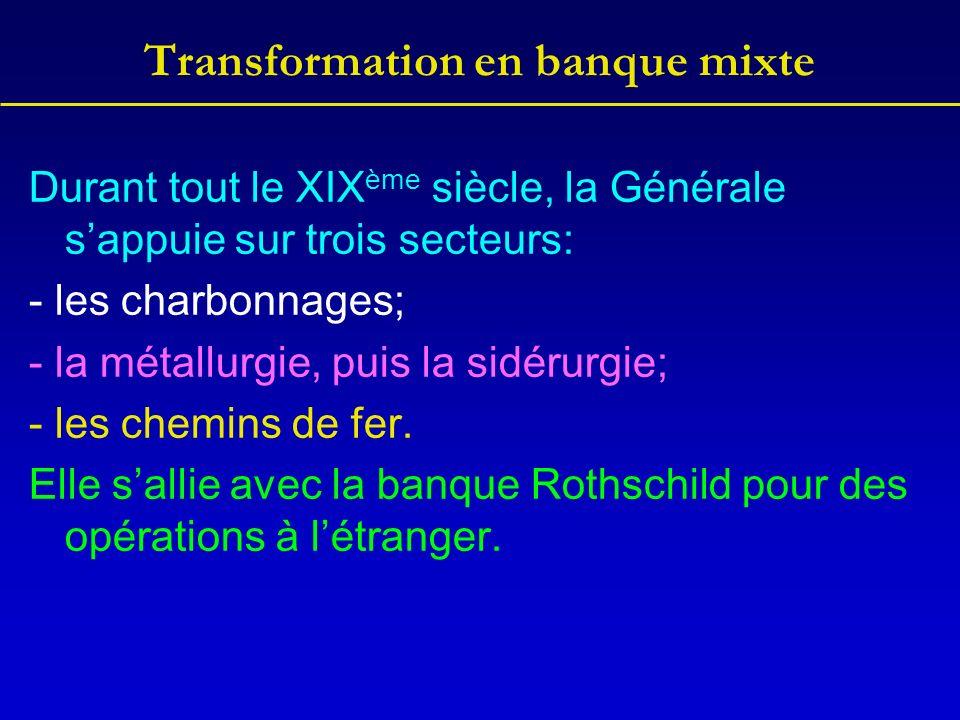 Transformation en banque mixte Durant tout le XIX ème siècle, la Générale sappuie sur trois secteurs: - les charbonnages; - la métallurgie, puis la si