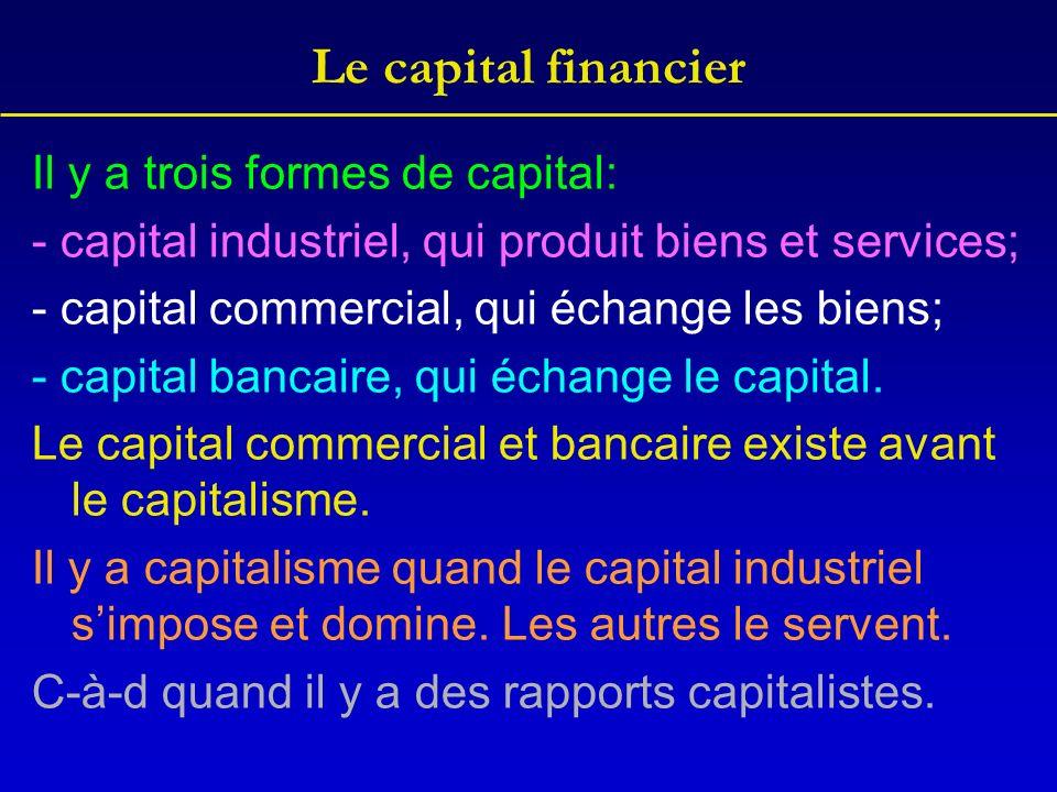 Le capital financier Il y a trois formes de capital: - capital industriel, qui produit biens et services; - capital commercial, qui échange les biens;